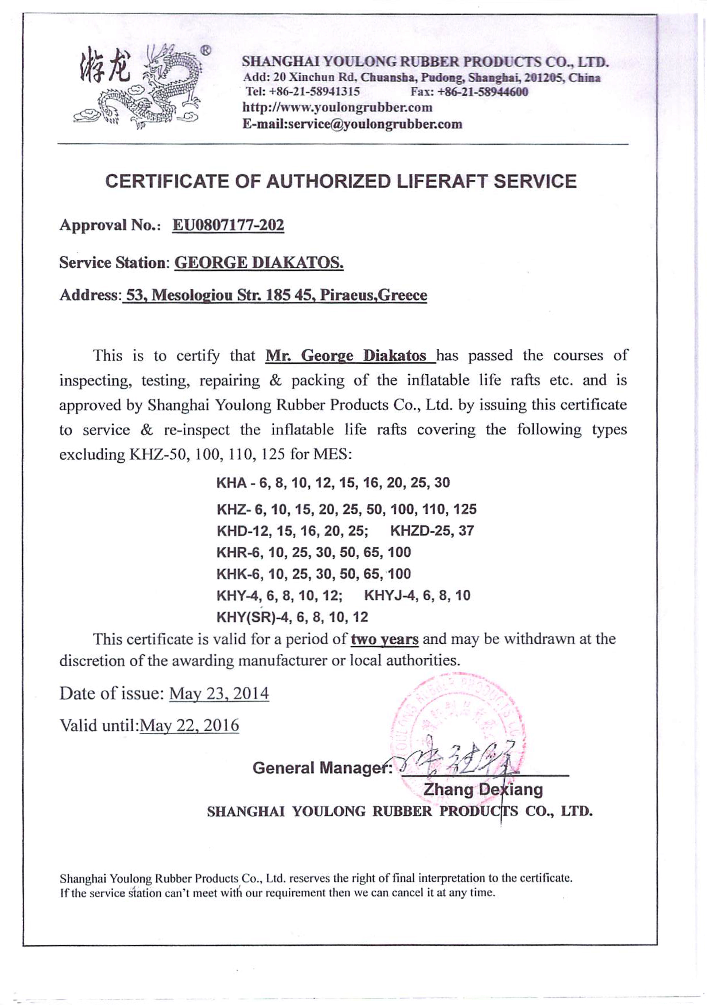 YOULONG Certificate